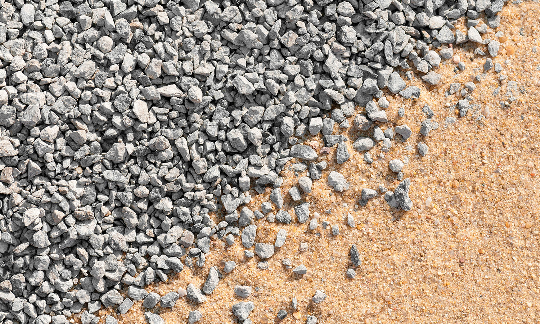 Stein, grus, sand, etc.